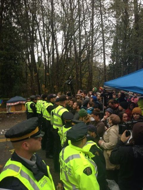 burnaby mountain police line