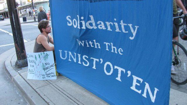 solidarity with unistoten blue banner