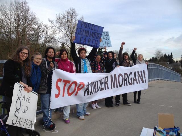 Stop Kinder Morgan banner drop