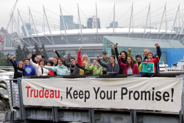 Trudeau keep your promises photo credit Dogwood Initiative North Shore Teams