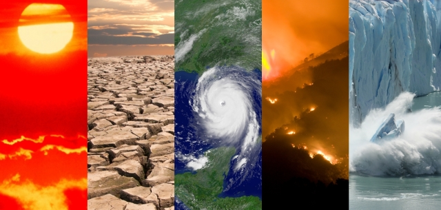 Photo collage-climate scenarios-global climate reports-NOAA image-landscapes