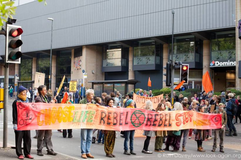 Extinction Rebellion banner in London
